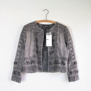 NWT Zara boho embroidered stonewashed gray jacket